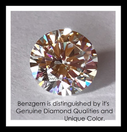 1.91 Benzgem by GuyDesign® Most Believable and Realistic 1.91 Ct. Hearts & Arrows Round... Designed, Hand Cut, and Polished as Real Diamonds are...