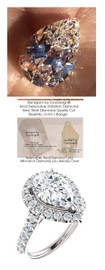 2.85 Carat Believable and Realistic Simulated Diamond Solitaire Pear Shaped Benzgem matches Convincingly the Natural 42 Diamond Semi-Mount; GuyDesign Halo Engagement or Right-Hand Ring - 14k White Gold, 6930
