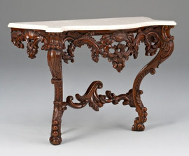 A Versailles Louis XIV French Baroque Period - 49 Inch Handcrafted Reproduction Entry Table Console - Walnut Luxurie Furniture Finish