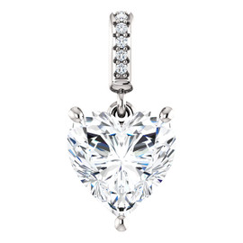 2.71 Ct. Hand Cut Heart Shape Benzgem: Best G-H-I-J Diamond Quality Color Imitation; GuyDesign® Dangle Mined Diamond Pendant Necklace: Custom White Gold Jewelry - 6974