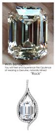 3.95 Ct. Emerald Brilliance Hand Cut Benzgem: Best G-H-I-J Diamond Quality Color Imitation; GuyDesign®Teardrop Pendant Necklace: Custom Mined Diamond and 14 Karat White Gold Jewelry - 6950