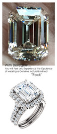5.50 Carat Believable and Realistic Simulated Diamond Solitaire Emerald Cut Benzgem matches Convincingly the Natural 44 Diamond Semi-Mount; GuyDesign Halo Engagement or Right-Hand Ring - 14k White Gold, 6975,