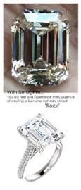 7.40 Micro Pavé Diamond Engagement Ring by GuyDesign®, 07.40 Carat Hand Cut Emerald Shape G-H Color Excellent Diamond Quality Benzgem Diamond Replica, Custom Jewelry 6965