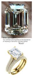 3.95 Micro Pavé Diamond Engagement Ring by GuyDesign®, 03.95 Carat Hand Cut Emerald Shape G-H Color Excellent Diamond Quality Benzgem Diamond Replica, Custom Jewelry 6966