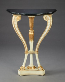 A Versailles Louis XVI French Neo Classical Period - 37 Inch Handcrafted Reproduction Nook Console Table - Marble - Painted White with Gold Luxurie Furniture Finish GJWI