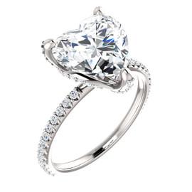 3.00 All G+, VS Diamond, Platinum Engagement Ring by GuyDesign®, 3 Carat Heart Shape Benzgem Best Alternative Solitaire, Custom Jewellery 6703