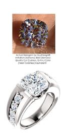 4.00 Bespoke Ladies G+ Color, VS Clarity Diamond Semi-Mount Wedding Ring - 4 Carat, 9 x 9 Cushion G-H-I-J Color Benzgem by GuyDesign® Best Diamond Simulant, Custom 6705