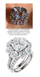 3.21 Carat, Luxury Cushion Cut Benzgem Solitaire, Benzgem; Diamond Quality Color and Cut, matches convincingly the 4.32 ct. Natural Diamond Semi-Mount; GuyDesign® Halo Design Engagement or Right Hand Ring, Platinum, 6706,