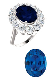 Princess Diana Ring/Precision Cut, Natural G+, VS 1.80 Carat Diamond Semi-Mount/4.85 Carat Oval Cut Chatham Corundum Sapphire/Opulent Ring Designed by GuyDesign®/Platinum Ring/7023