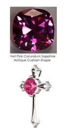 3.90 ct. Benzgem Created Hot Pink Cushion Synthetic Sapphire Necklace Cross Pendant by GuyDesign®, Custom White Gold Jewelry 7032