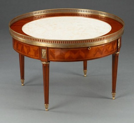 A Versailles Louis XVI French Neo Classical Period - 28 Inch Round Handcrafted Reproduction Coffee | Cocktail Table - Wood Luxurie Furniture Finish MLSC with Gilt Brass Ormolu Mounts