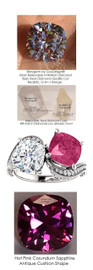 7.11 ct. Ladies Mined Diamond Semi-Mount Two Stone Wedding Ring, Benzgem by GuyDesign® Lab-Created Corundum Sapphire, and Premium Cushion G-J Color Diamond Simulant 7045