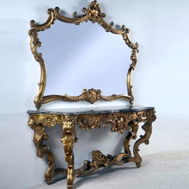 """#A Versailles Louis XIV French Baroque Period - 77"""" Handcrafted Reproduction Entry Table Console and Wall Mirror - Gold Luxurie Furniture Finish NF11, 6388"""