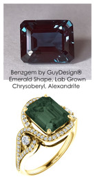 6.17 Ct. Benzgem by GuyDesign® Lab-Created Chrysoberyl Alexandrite, Mined Diamond and Gold Semi Mount Ring, 7078