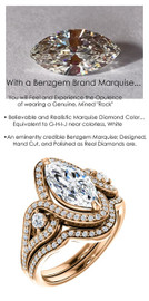 1.59 Carat Believable and Realistic Simulated Diamond Marquise Cut Benzgem matches Convincingly the Natural Diamond Semi-Mount; GuyDesign Halo Engagement or Right-Hand Ring - 14k Rose Gold, 7082,