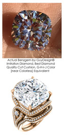 14.88 Carat Believable and Realistic Simulated Diamond Cushion Cut Benzgem matches Convincingly the Natural Diamond Semi-Mount; GuyDesign Halo Engagement or Right-Hand Ring - 14k Rose Gold, 7084,