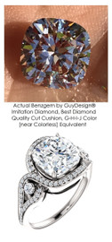 3.21 Carat Believable and Realistic Simulated Diamond Cushion Cut Benzgem matches Convincingly the Natural Diamond Semi-Mount; GuyDesign Halo Engagement or Right-Hand Ring - 14k White Gold, 7086,
