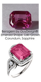 5.91 Ct. Benzgem by GuyDesign® Lab-Created Corundum, Hot Pink Emerald cut Sapphire, Mined Diamond and Gold Semi Mount Ring, 7087