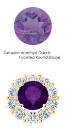 10 x 10 Mined Round 10 x 10 Amethyst Quartz and Benzgem by GuyDesign® 02.50 Carats of Best Round Diamond Simulants, Diana Princess of Wales Ring, 14k Yellow Gold, 7106