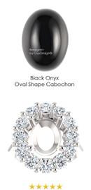 11 x 9 Mined Oval Cabochon 11 x 9 Ebony Black Onyx and Benzgem by GuyDesign® 01.80 Carats of Best Round Imitation Diamonds, Diana Princess of Wales Ring, 14k White Gold, 7110