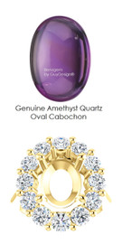 11 x 9 Mined Oval Cabochon 11 x 9 Purple Amethyst Quartz and Benzgem by GuyDesign® 01.80 Carats of Best Round Imitation Diamonds, Diana Princess of Wales Ring, 14k Yellow Gold, 7111