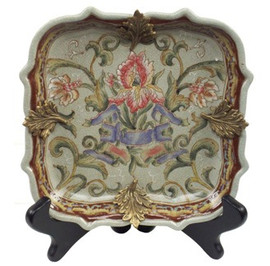 Iris Garden Pattern - Luxury Hand Painted Porcelain and Gilt Bronze Ormolu - 7.5 Inch Square Decorative Plate