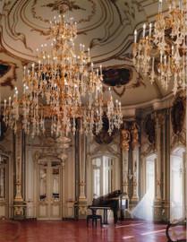 "#European Ballroom Chandelier in Gilt Bronze Ormolu, Hand Blown Crystal Glass - 179""t X 118""dia. or 15't x 9.84'dia. - 96 Lights with 24 Karat Gold Finish, 6982"