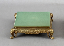 High End Indian Elephant Motif Platform - Luxury Hand Painted Porcelain and Gilt Bronze Ormolu - 8 Inch Celadon Square Display Stand