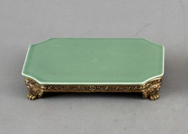 High End Empire Style Platform - Luxury Hand Painted Porcelain and Gilt Bronze Ormolu - 8 Inch Celadon Curved Corner Display Stand 1336 ND - 10.25 x 8.75 x 1.5 Stand - Display Platform
