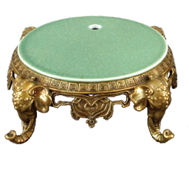 High End Indian Elephant Motif Platform - Luxury Hand Painted Porcelain and Gilt Bronze Ormolu - 6.75 Inch Ebony Black Round Display Stand