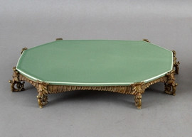 High End Guirlande Platform - Luxury Hand Painted Porcelain and Gilt Bronze Ormolu - 12 Inch Celadon Octagonal Display Stand