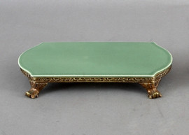 High End Empire Style Platform - Luxury Hand Painted Porcelain and Gilt Bronze Ormolu - 11 Inch Celadon Oblong Display Stand
