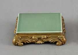 High End Baroque Scroll Platform - Luxury Hand Painted Porcelain and Gilt Bronze Ormolu - 5 Inch Celadon Square Display Stand