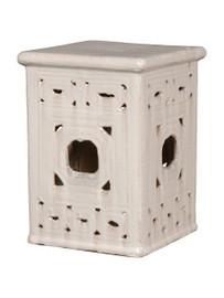 Finely Finished Ceramic Square Garden Stool - 18 Inch - Polished White Finish