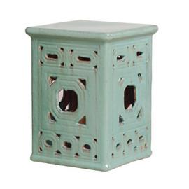 Finely Finished Ceramic Square Garden Stool - 18 Inch - Polished Turquoise Finish