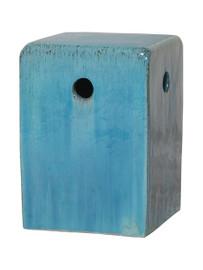 Finely Finished Ceramic Square Garden Stool - 18 Inch - Polished Sky Blue Finish