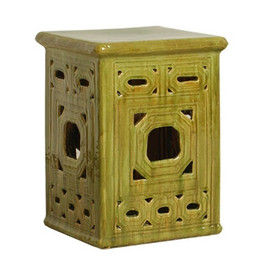 Finely Finished Ceramic Square Garden Stool - 18 Inch - Polished Lichen Green Finish