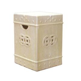 Finely Finished Ceramic Square Garden Stool - 18 Inch - Polished Ivory, Taupe Finish
