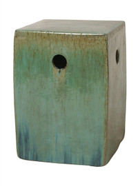 Finely Finished Ceramic Square Garden Stool - 18 Inch - Polished Blue Green Finish