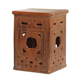 Finely Finished Ceramic Square Garden Stool - 18 Inch - Polished Brown Finish