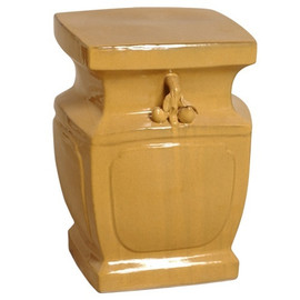 Finely Finished Ceramic Square Garden Stool - 18 Inch - French Yellow Finish