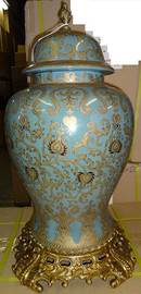 A Medium Blue and Gold Lotus Scroll Arabesque with Gilded Brass Ormolu - Luxury Handmade Reproduction Chinese Porcelain - Statement 25.5 Inch Palace Temple Jar Style D1