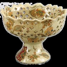 Blossoms Pattern - Luxury Hand Painted Porcelain - 6 Inch Pedestal Bowl | Compotier