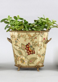 Blossoms Pattern - Luxury Hand Painted Porcelain and Gilt Bronze Ormolu - 9 Inch Planter