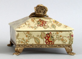 Blossoms Pattern - Luxury Hand Painted Porcelain and Parcel Gilt Bronze Ormolu - 8.5 Inch Decorative Box