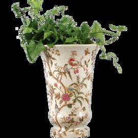 Serene Garden Pattern - Luxury Hand Painted Porcelain - 9.75 Inch Vase