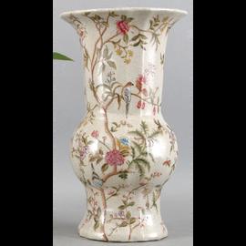 Serene Garden Pattern - Luxury Hand Painted Porcelain - 14 Inch Vase