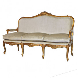 #The Queen of Versailles Marie Leszezynska - Louis XV French Rococo Period - 71 Inch Handcrafted Reproduction Sofa | Canape - Velvet Upholstery - Metallic Gold Luxurie Furniture Finish 6369 - Reproduction Salon Canape