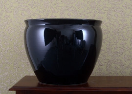Porcelain Fish Bowl | Fishbowl Planter - Solid Black - 18 Inch Size