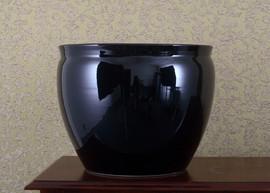 Porcelain Fish Bowl Planter - Solid Black - 16 Inch Size